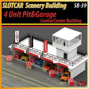 Slotcar Scenery Building 4 Unit Pit & Garage with Control Center for scalextric