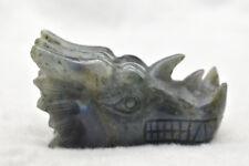 Natural Labradorite Quartz Crystal Dragon Skulls Head Carving Reiki Healing 1pcs