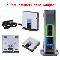 Unlocked VoIP Gateway Router SIP+RJ45+ 2 Phone Ports Adapter for Linksys PAP2T