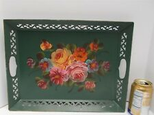 Vintage Toleware Tray Hand Painted Flowers on Green Fine Arts Studio 1950s