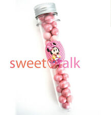 MINNIE MOUSE OR MICKEY MOUSE CHOCOLATE PARTY FAVOUR, CANDY TEST TUBE LOLLY STICK