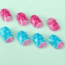 20pcs Lovely Cute Girls  Fashion Fake Artificial Stripe Finger Nails for Kids