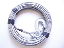 """3/16"""" x 50 ft Galvanized Wire Rope Winch Cable with Eye Hook"""