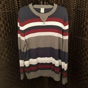 Mens Blue Gray Stripe Long Sleeve Mossimo Crewneck Sweater XL