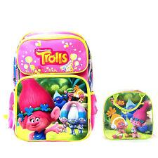 New Dreamworks Trolls Families Hot Pink Backpack & Lunch Box School Supplies