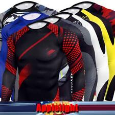 Mens Compression T Shirt Printed Tops Fitness Long Sleeve Skinny Sport Pullover
