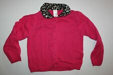 New Gymboree Pink Cardigan Sweater with Leopard Print Fur Collar size 5T NWT