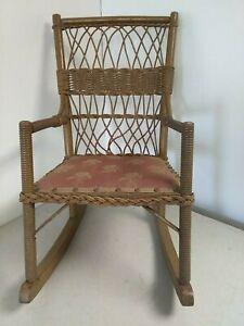 """Vintage Victorian Era Wooden Wicker Rattan Child's Rocking Chair 25-1/2"""" tall"""