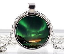 Northern Lights Pendant Necklace Space Nebula Aurora Borealis Green Photo Charm