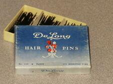 VINTAGE DELONG DE LONG HAIR PINS NO 111 BROWN w/ ASSORTED PINS