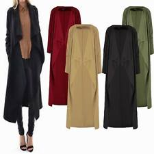 Womens Long Sleeve Floaty Crepe Cardigan Top Trench Duster Coat Jacket Plus size