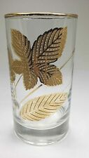 Gold leaf clear glass drinking glasses tumblers set of 6 Vtg 8 oz cups