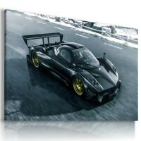 PAGANI ZONDA BLACK SUPER Sports Car Wall Art Canvas Picture AU680 MATAGA