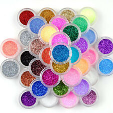 45 Mix Color Set Nail Art Glitter Powder Dust For UV GEL Acrylic Decoration Tips