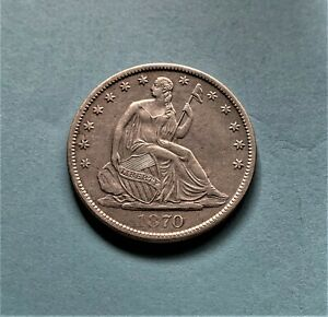 1870 S LIBERTY SEATED HALF DOLLAR APPEALING BEAUTIFUL BOLD SHARP FEATURES
