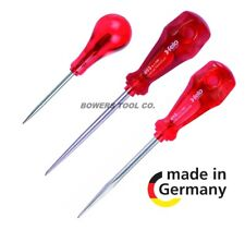 Felo 3pc Scratch Awl Set Leather Punch Tool Palm Ball Handle Made in Germany