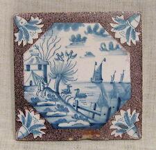 "Antique 18th Century 5"" Delft Tile with Birds"