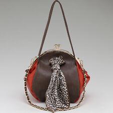 New Women Leather Handbag Two Tone Kisslock Shoulder Bag Leopard Crossbody Taupe