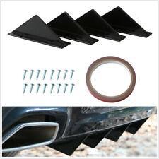 4X Car Rear Bumper Lip Spoiler Triangle Black Universal +Screw Double-sided Tape
