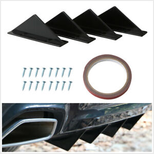 4X Car Rear Bumper Lip Spoiler Triangle Black Universal +Screw Double-sided Tape