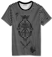 GUESS Men's Tattoo Embroidered T-Shirt, Jet Black Multi, Size L, MSRP $44
