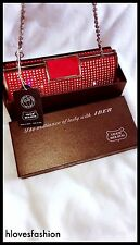 ✨❤IBER BOLSOS Red Diamanté Evening Clutch Bag Gorgeous Amazing QUALITY👛❤️✨