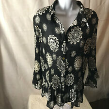 womens Serenade plus size black and white button front shirt size 18/20 F6