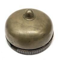 Antique Vtg Mechanical Doorbell Brass Bell Cast Iron Base / No Lever Lift Pull