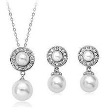 18K WHITE GOLD PLATED & GENUINE AUSTRIAN CRYSTAL PEARL NECKLACE & EARRING SET