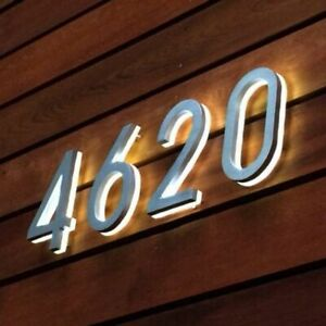 Numbers 3D LED Luminous House Waterproof Stainless Steel Address Numbers Decor