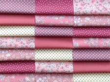 """Fabric patchwork squares 30 x 5""""  cotton quilting craft floral rose pink 1A"""
