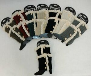 Ladies Boot Cuffs Knitted ANTIQUE LACE WITH 3 BUTTONS Women's Leg Warmer Cuff
