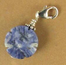 Tibetan flower clip-on charm. Sodalite.Blue. Sterling silver 925. Handmade.