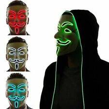 2018 Guy Fawkes LED Light Up Mask Anonymous Vendetta Halloween Fancy Dress Party