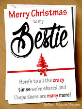 Christmas Card Bestie Crazy Times BFF Girlie Best Friend Mate Love Cute Humour