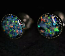 Genuine Coober Pedy 8mm Opal Chip Earrings Sterling Silver Outback Opal Hunter
