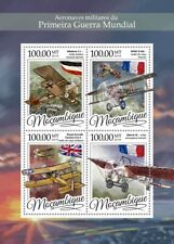 Mozambique Aviation Stamps 2016 MNH WWI WW1 Military Aircraft Bleriot 4v M/S