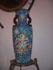 Enorme Vase en Emaux de Longwy - décor Aras Branchés dans un cartel - H: 60cms
