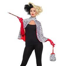Ladies Cruella Dalmatian Print Cape Deluxe Evil Madame Kit Gloves Bag Cigarette