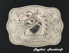 MEN BELT BUCKLE HANDMADE STAINLESS STEEL WESTERN STYLE HORSE #3
