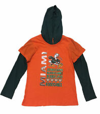 Colosseum Girls' Hoodie Long Sleeve Shirt Miami Hurricanes Orange/Green X-Large