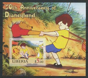 Winnie the Pooh Disneyland 50 years mnh Imperf Souvenir Sheet 2005 Liberia