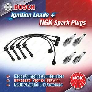 4 x NGK Spark Plugs + Bosch Ignition Leads Kit for Mazda 626 GF GFSP GF GFSS