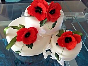 SET OF 3. GIANT HAND MADE  SUGAR POPPIES IN ORANGE,