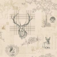 RICHMOND HIGHLAND STAG WALLPAPER CHARCOAL HOLDEN (98012) CREAM FEATURE WALL NEW