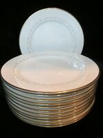 "NORITAKE CONSTELLATION IVORY CHINA 7559 GOLD TRIM JAPAN 12 DINNER PLATES 10 1/2"""