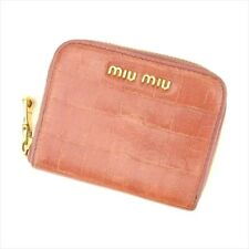 Miu Miu Coin Purse Pink Gold Embossed leather Woman Authentic Used F1465