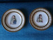 Antique French Sevres pair of porcelain portrait  plates of Napoleon & Josephine