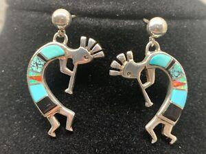 Kokopelli Native American Calvin Begay Sterling Silver Turquoise Inlay Earrings