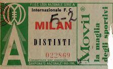CALCIO   BIGLIETTO  TICKET   INTER  MILAN  CAMPIONATO  1965-66
